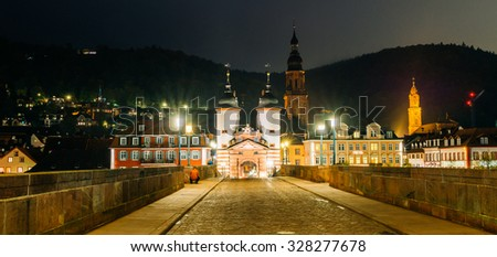 Old Bridge, Heidelberg at night in autumn, Germany