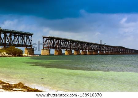 Old Bridge In Bahia Honda, Florida - stock photo