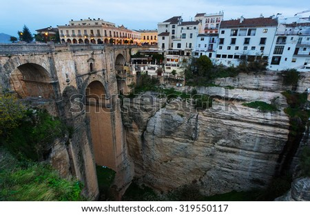 Old bridge in early morning at Ronda.  Spain