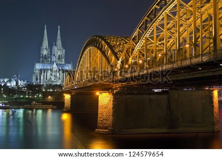 Old Bridge in Koln city, Germany - stock photo