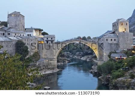 Old Bridge in Mostar at night, Bosnia and Herzegovina - stock photo