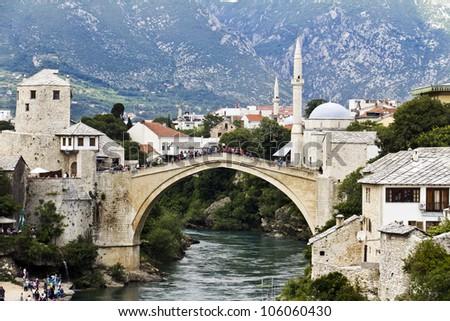 Old Bridge, Mostar, Bosniaand Herzegovina - stock photo