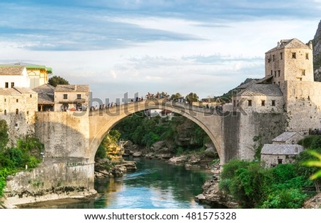 Old bridge over Neretva river in sunset, Mostar, Bosnia and Herzegovina, Europe