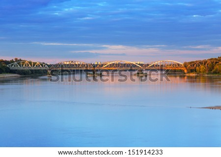 Old bridge over Vistula river in Torun, Poland
