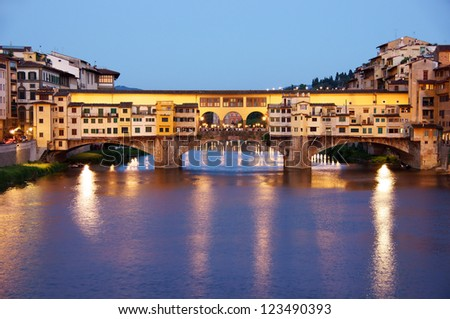 Old bridge (ponte vecchio) Florence, Italy at night