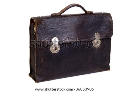 old briefcase on a white background