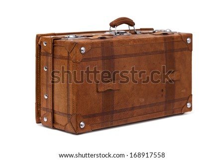 Old brightly brown leather suitcase isolated on white.