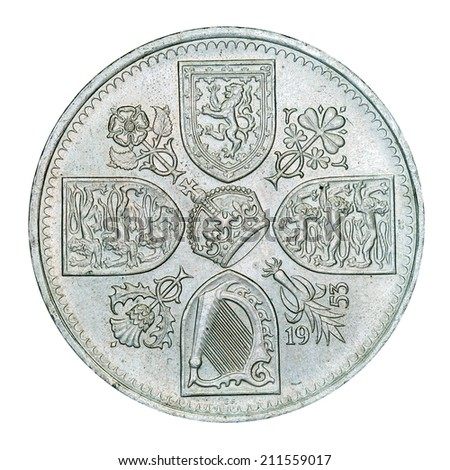 Old British Five Shilling Piece (with clipping path)