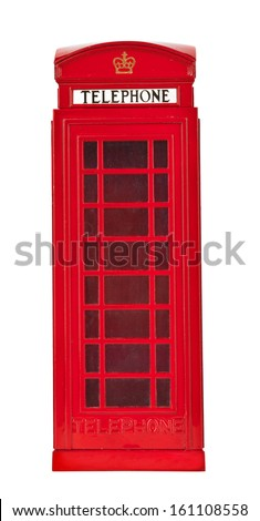 Old British style telephone booth  - stock photo