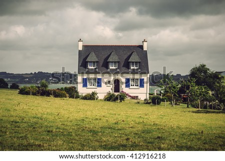 old brittany typical country house in France, Europe, Vintage filtered style