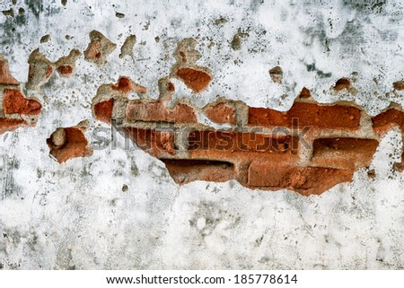 old broken brick wall background,  abandoned house  - stock photo