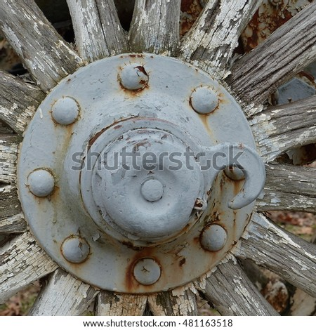 Old Broken Civil War Cannon Wheel with Chipped Paint