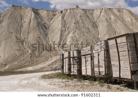 Old broken down transportation wagons in a stone quarry