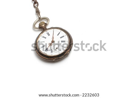 old broken pocket watch isolated on white