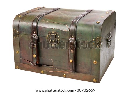 old broken wooden chest with lock and straps