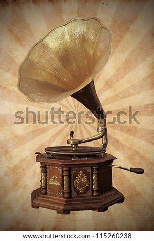 Old bronze gramophone on vintage background - stock photo