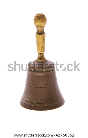 old bronze hand bell isolated on white - stock photo