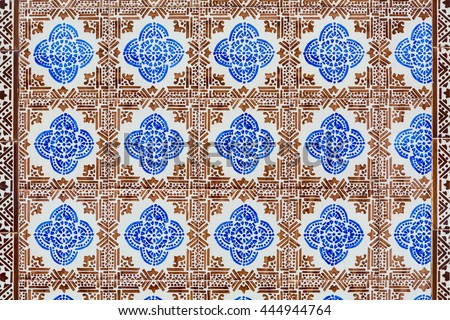 old brown and blue colored azulejos - hand painted tiles from Lisbon