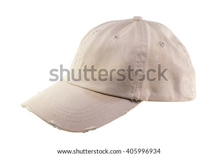 old brown baseball cap isolated white