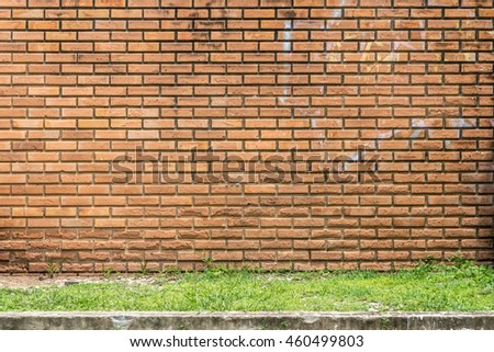 Old brown brick wall with green grass