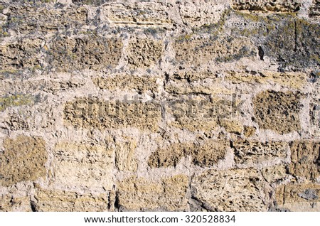 Old Brown Bricks Wall Pattern. - stock photo