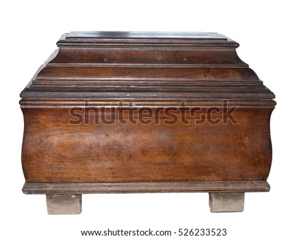 Old brown casket. Isolated on white background.