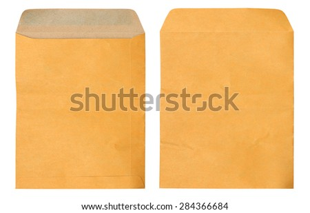 Old brown envelope document on white background - stock photo