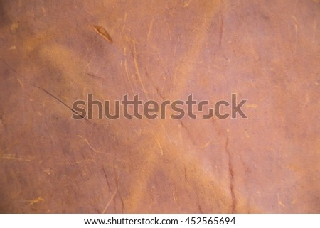 Old brown genuine leather background texture, Close up
