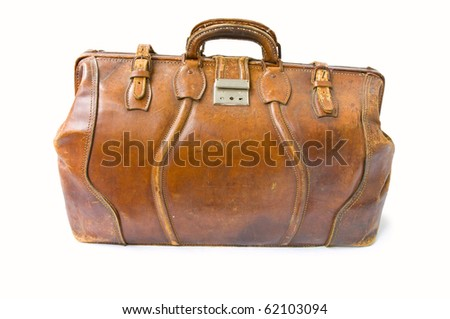 Old brown leather bag isolated with clipping path