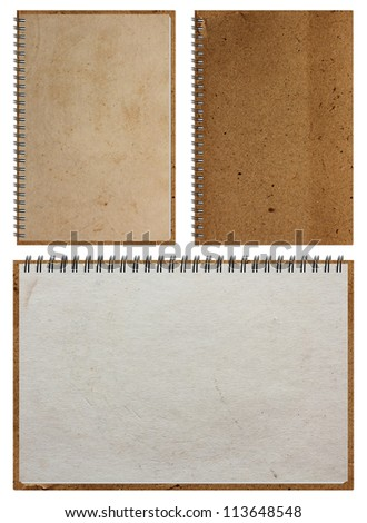 Old brown Notebook paper, isolated on white background (Save Paths For design work) - stock photo
