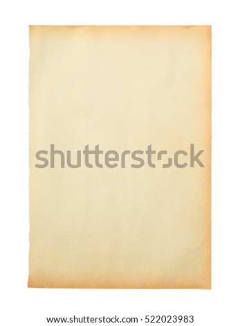 Old brown paper isolated on white background.