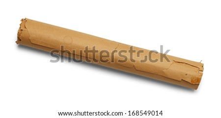 Old Brown Paper Scroll Rolled Up and Isolated on White Background.