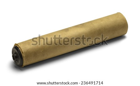 Old Brown Paper Scroll Rolled Up and Isolated on White Background. - stock photo