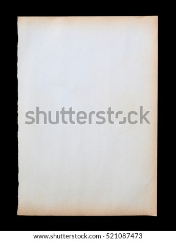 Old brown paper texture isolated on black background
