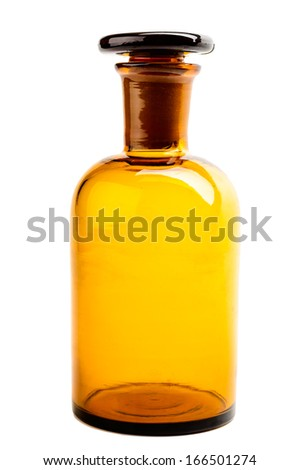 Old brown pharmacy bottle with glass cork. Isolated on white - stock photo
