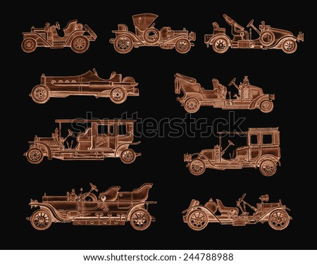 Old Brown Retro Cars - stock photo