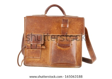 Old Brown Shoulder bag, isolated - stock photo