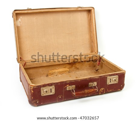 Old brown suitcase for travel white background