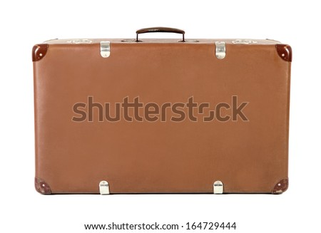 old brown suitcase isolated before white background - stock photo