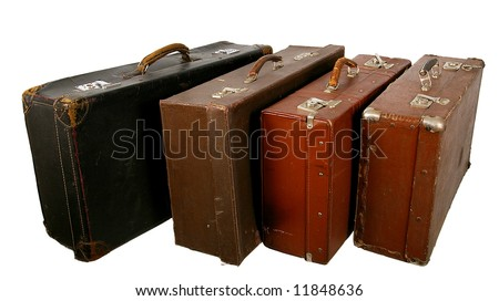 Old brown suitcase on a light background