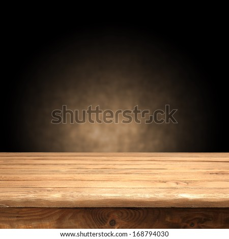 old brown table and wall  - stock photo