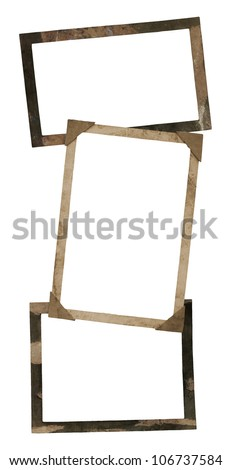 old brown textured photo paper frame cluster - stock photo