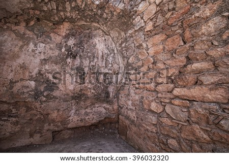 Old brown wall Corner - stock photo
