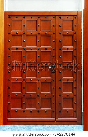 Old Brown Wood Door House Entrance - stock photo