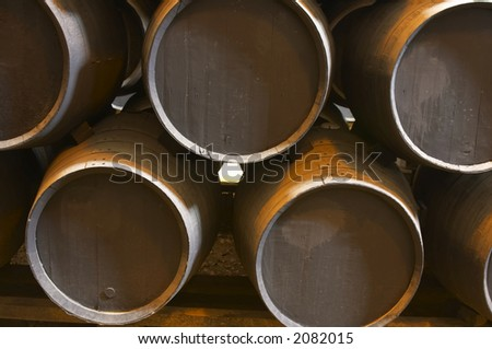 old brown wooden barrel of sherry - stock photo
