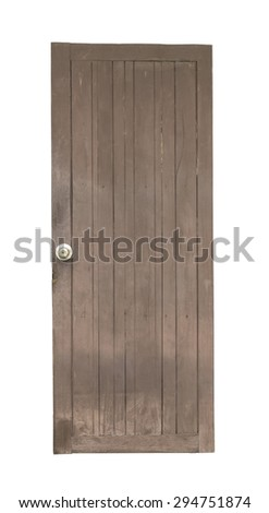 Old brown wooden door isolated on white background