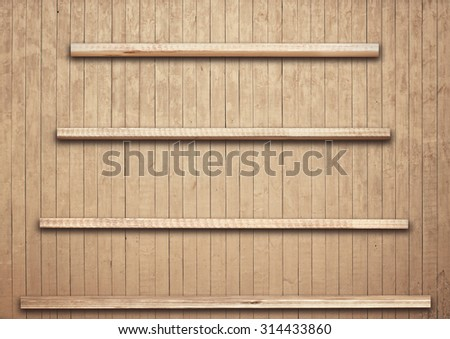 Old brown wooden planks texture with shelfs