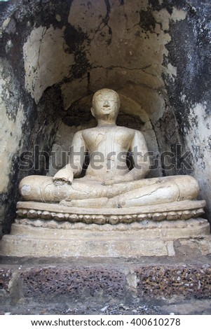 old Buddha in old town of Sukhothai historical park, the old town of Thailand