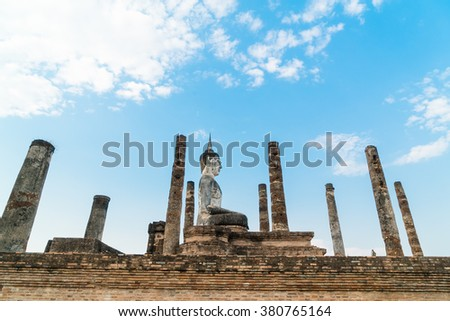 Old buddha in the temple at Sukhothai Historical Park in Sukhothai Province, Thailand - stock photo