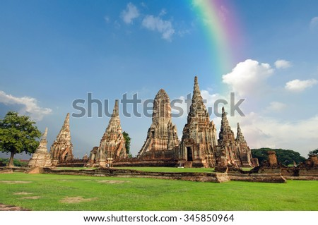 Old buddha pagoda temple with cloudy sky and rainbow in Ayuthaya province Thailand - stock photo